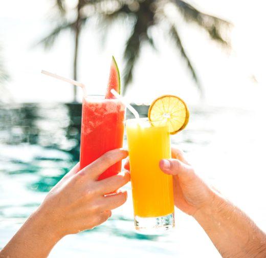 vakantie, hand, cocktail, drankje, zon